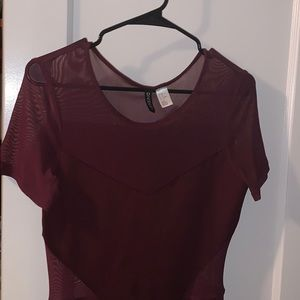DIVIDED by H&M Maroon colored cut-out dress